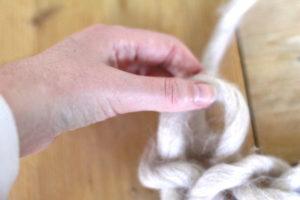 Deken handknopen - tweede rij